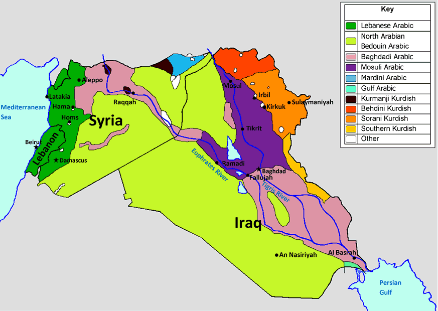 Language map of Syria, Iraq and Lebanon